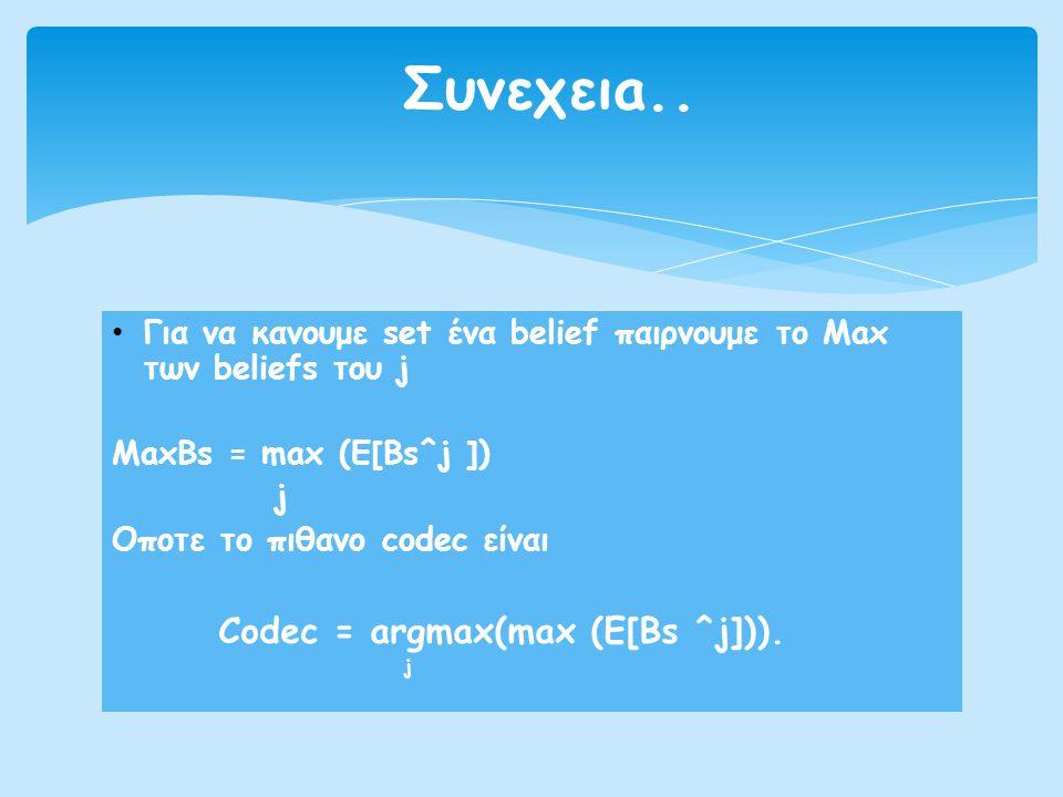 Συνεχειa.. Codec = argmax(max (E[Bs ^j])).